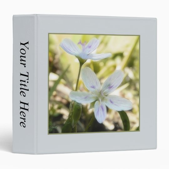 Delicate Spring Beauty Flowers 3 Ring Binder