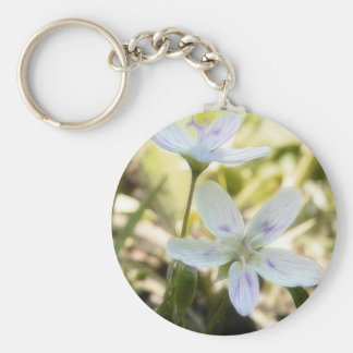 Delicate Spring Beauty Flowers Basic Round Button Keychain