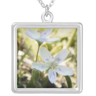 Delicate Spring Beauty Flowers Square Pendant Necklace