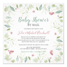 Delicate Spring Floral Baby Shower by Mail Invitation
