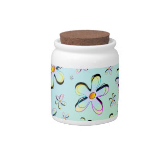 Delicate Spring Flowers Candy Jar
