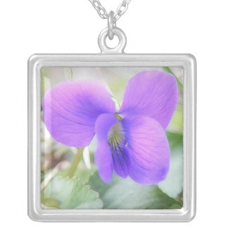 Delicate Spring Violet Silver Plated Necklace