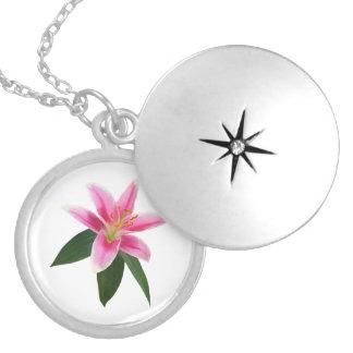 Delicate Stargazer Lily Round Locket Necklace