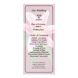 Delicate Stargazer Lily Wedding Program