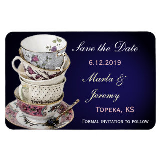 Delicate tea cup save the date rectangular photo magnet