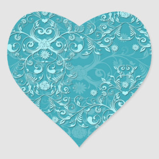 Delicate Two Tone Fancy Floral Teal Damask Heart Stickers