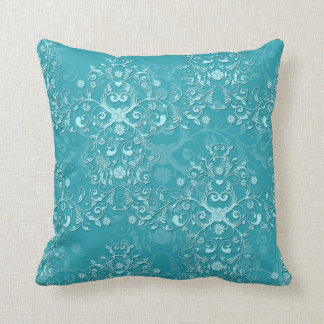 Delicate Two Tone Fancy Floral Teal Damask Throw Pillow