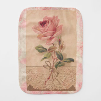 Delicate Victorian Pink Rose Burp Cloth
