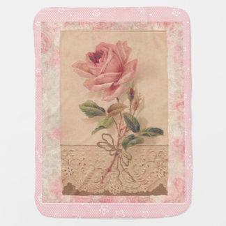 Delicate Victorian Pink Rose Swaddle Blanket