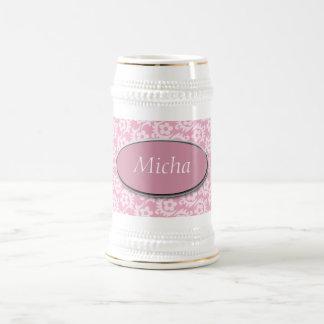 Delicate Vintage Pastel Pink Flowers Monogram Beer Stein