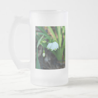 Delicate White Alleghany Spurge Flowers Frosted Glass Beer Mug