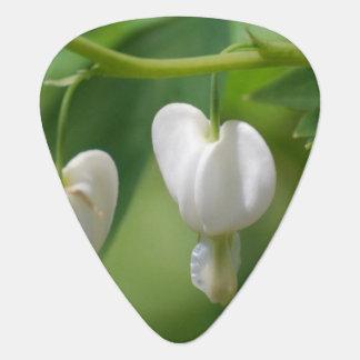 Delicate White Bleeding Heart Guitar Pick