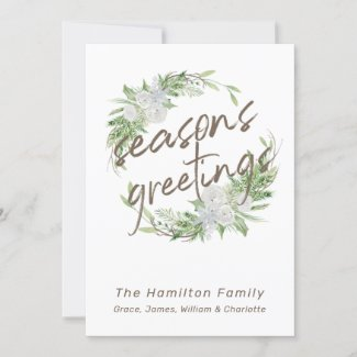 Delicate White Floral Christmas Wreath Holiday Card