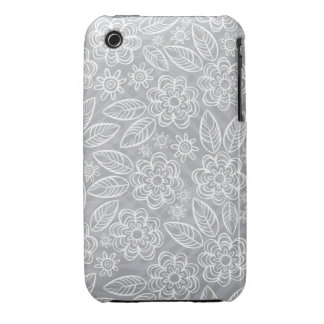 delicate white flowers on gray iPhone 3 cases