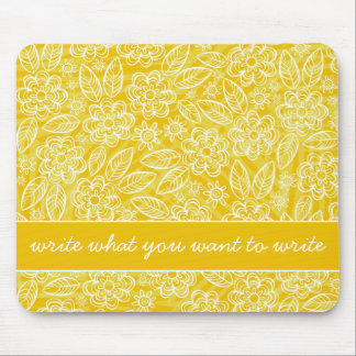 delicate white flowers on yellow with your text mouse pad