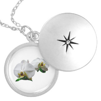 Delicate White Orchids Round Locket Necklace