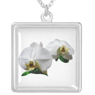 Delicate White Orchids Square Pendant Necklace