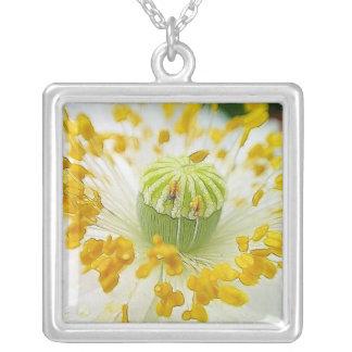 Delicate White Poppy Square Pendant Necklace
