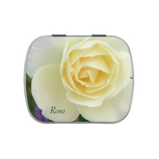 Delicate white rose flower macro picture jelly belly candy tin