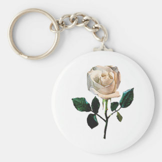 Delicate White Rose Key Chains