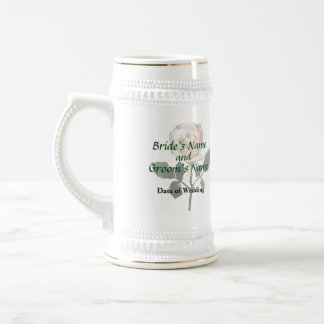 Delicate White Rose Wedding Products Beer Stein