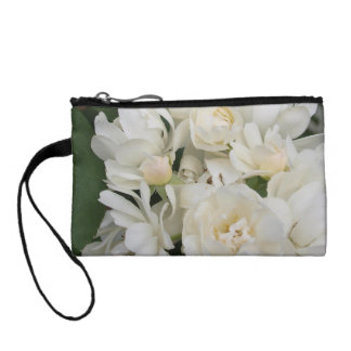 Delicate White Roses Key Coin Clutch