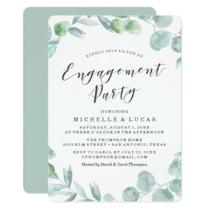 Delicate Wreath Engagement Party Invitation