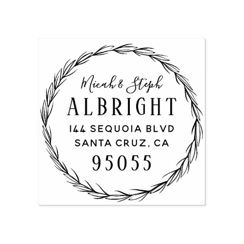Delicate Wreath Married Couple Return Address Rubber Stamp