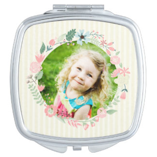 Delicate Yellow Stripes Custom Photo Floral Frame Makeup Mirrors