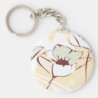 Delicated Flowers Basic Round Button Keychain