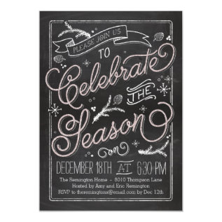 Delicately Chalked Holiday Party Invitation at Zazzle