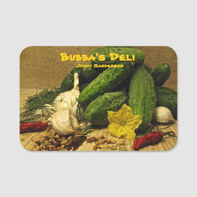 Delicatessen Market with Pickles Name Tag
