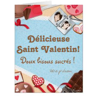 ¡Deliciosa San Valentín! ¡Suaves besitos Tarjeta De Felicitación Grande