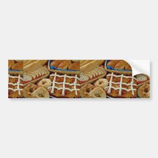 Delicious Baked goods: bagels, rolls, hot crossed Bumper Sticker