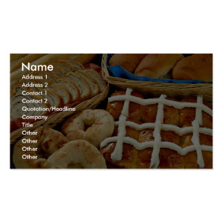 Delicious Baked goods: bagels, rolls, hot crossed Business Card Templates