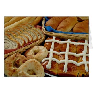 Delicious Baked goods: bagels, rolls, hot crossed Card