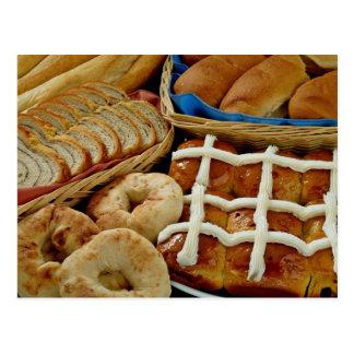 Delicious Baked goods: bagels, rolls, hot crossed Postcard