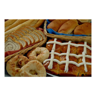 Delicious Baked goods: bagels, rolls, hot crossed Poster