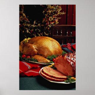 Delicious Baked ham, roast turkey Poster