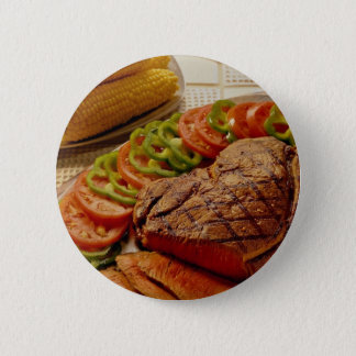 Delicious Beef roast with corn Pinback Button