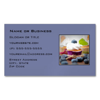 Delicious Blueberry Cupcake with Whipped Cream Business Card Magnet