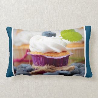 Delicious Blueberry Cupcake with Whipped Cream Lumbar Pillow