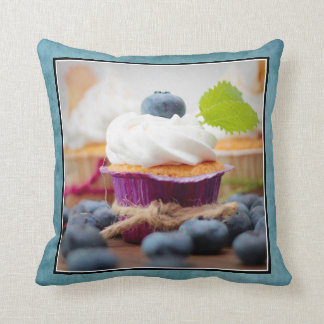 Delicious Blueberry Cupcake with Whipped Cream Throw Pillow
