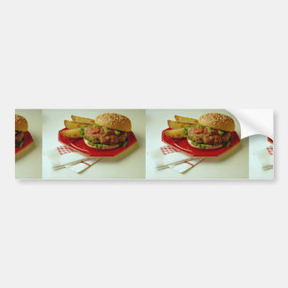 Delicious Breaded fish on a bun with fries Bumper Sticker