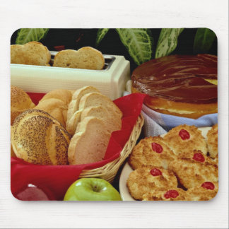 Delicious Breads, rolls, cream pie, macaroons and Mousepads
