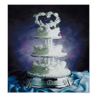Delicious cake w/frosted hearts & swans poster