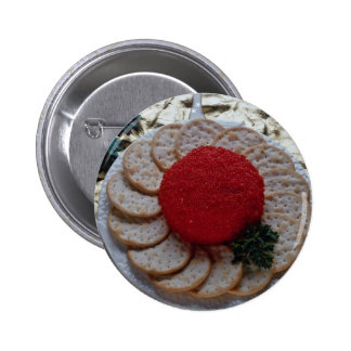 Delicious Caviar with round crackers Pinback Buttons