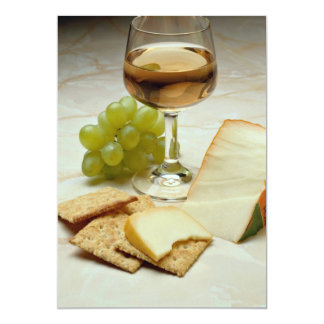 Delicious Cheese, crackers and wine glass 5x7 Paper Invitation Card