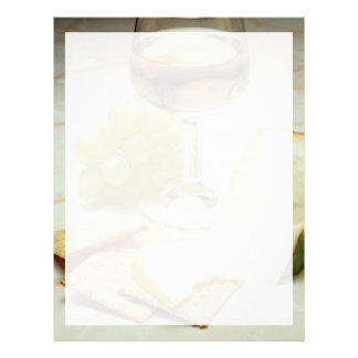 Delicious Cheese, crackers and wine glass Letterhead