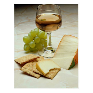 Delicious Cheese, crackers and wine glass Postcards